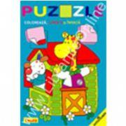 Puzzle - Coloreaza, lipeste si invata. Patratul