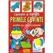 Lipeste si invata PRIMELE CUVINTE- carte  colorata cu autocolante