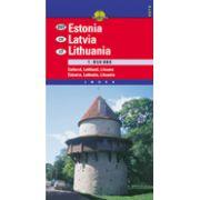 Hartă rutieră Estonia,Litvania,Letonia