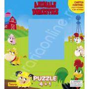 Animale domestice. 1 puzzle culisant si 4 jocuri puzzle