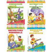 Set de 4 carti pentru grupa pregatitoare. Dezvoltare personala, Matematica si explorarea mediului, Comunicare in Limba Romana, Educatie pentru Societate