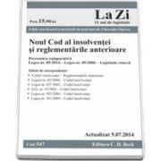 Noul Cod al insolventei si reglementarile anterioare. Actualizat la 5.07.2014 (Cod 547)