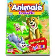Carte de colorat. Animale fericite. Distractie in culori