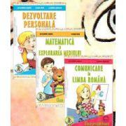 Set de 3 caiete pentru clasa pregatitoare. Comunicare in Limba Romana, Dezvoltare personala, Matematica si explorarea mediului (Editia, 2014)