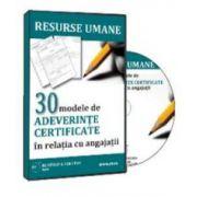 Gabriela Dita, 30 modele de adeverinte certificate in relatia cu angajatii - Format CD
