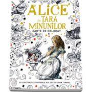Alice in Tara Minunilor - carte de colorat cu ilustratiile originale ale lui Sir John Tenniel