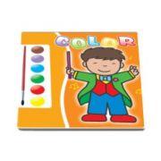 Carte de colorat cu acuarele si pensula (portocaliu)