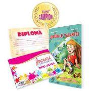 Pachet de baza pentru clasa pregatitoare - Caiet de vacanta cu diploma, medalie si caiet cu jocuri amuzante