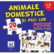 Animale domestice si puii lor - Puzzle pentru podea cu 20 de piese (3-6 ani)