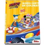 Marea carte de colorat. Mickey si pilotii de curse - Peste 50 de autocolante