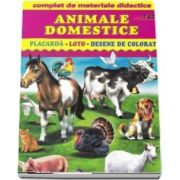 Animale domestice - Placarda, Loto, Desene de colorat. Complet de materiale didactice