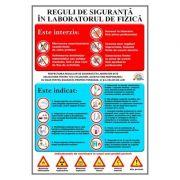 Plansa reguli de siguranta in laboratorul de fizica