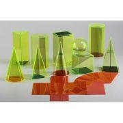 Set 10 corpuri geometrice transparente din plastic