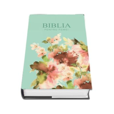 Biblia pentru femei, medie, verde pal, cu model floral