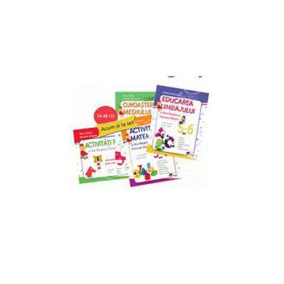 Set caiete pentru grupa mare, 5 - 6 ani. Educarea limbajului, Activitati matematice, Cunoasterea mediului, Activitati practice