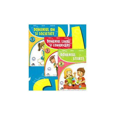 Set de 3 caiete pentru gradinita, nivel 3-4 ani. Domeniul, limba si comunicare, stiinte, om si societate (Editia, 2013)