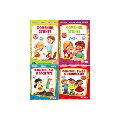 Set de 4 caiete pentru gradinita, nivel 5-6 ani. Domeniul, limba si comunicare, om si societate, stiinte (matematica), stiinte (cunoasterea mediului) - Editia, 2014