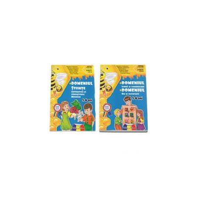 Set de 2 caiete pentru gradinita, nivel 5-6 ani. Domeniul, limba si comunicare, om si societate, stiinte, matematica si cunoasterea mediului