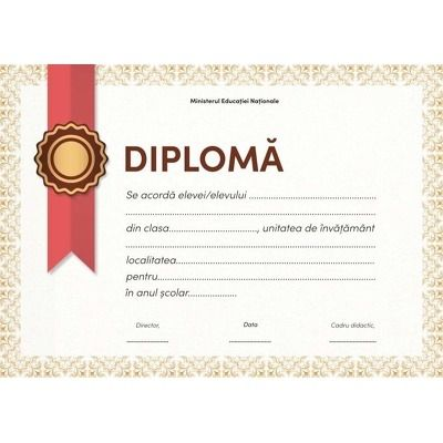 Diploma - Format A4 (model panglica rosie)