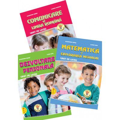 Set de 3 caiete pentru clasa pregatitoare. Comunicare in Limba Romana, Dezvoltare personala, Matematica si explorarea mediului, Editia 2021
